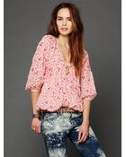 Free People Fp One Printed Blouse - Lyst