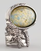 Saint Laurent Silvertone Arty Ring  - Lyst