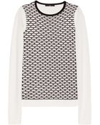 Tibi Mesh Patterned Cotton Blend Sweater - Lyst