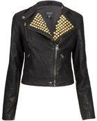 Topshop Gold Studded Clean Biker Jacket - Lyst