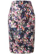 Erdem Frida Floral Printed Stretch Cotton Pencil Skirt - Lyst