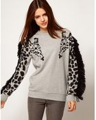 ASOS Collection Asos Sweatshirt with Giraffe and Fringe Sleeves - Lyst