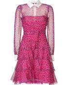 Valentino Fuchsia/Black Leopard Print Belted Silk Dress - Lyst