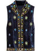 Anna Sui Embellished Velvet Vest - Lyst