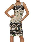 Dolce & Gabbana Lace Rose Print Viscose Cady Dress - Lyst