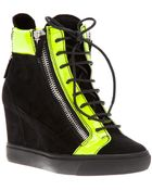 Giuseppe Zanotti Paneled Wedge Hi-Top Sneakers - Lyst