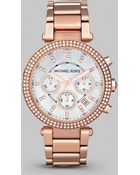Michael Kors Parker Rose Goldtone Stainless Steel, Mother-Of-Pearl & Crystal Chronograph Bracelet Watch - Lyst