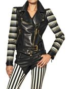 Fausto Puglisi Printed Silk Twill and Leather Jacket - Lyst
