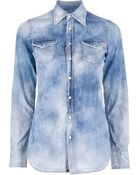 DSquared2 Bleached Denim Shirt - Lyst