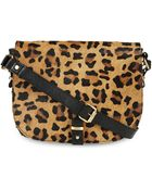 Topshop Leopard Leather Stud Crossbody Bag - Lyst