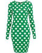 Topshop Polka Dot Bodycon Dress - Lyst