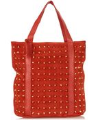 Topshop Studded Suede Shopper - Lyst