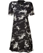 Anna Sui Blackcream Cupid Print Crepe Dress - Lyst