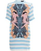 Holly Fulton Striped Graphic Print Shift Dress - Lyst