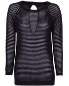 Mango Striped Openwork Sweater - Lyst