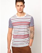 Asos Asos Stripe T-shirt with Aztec Print - Lyst