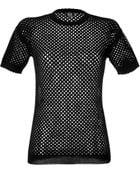 McQ by Alexander McQueen Black Perforated Jersey Top - Lyst