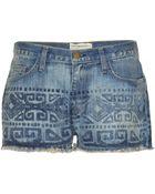 Current/Elliott The Boyfriend Print Denim Shorts - Lyst