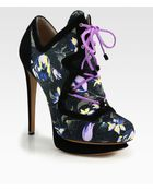 Nicholas Kirkwood Suno Printed Canvas Suede Laceup Ankle Boots - Lyst