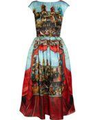 Dolce & Gabbana Printed Silk-Organza Midi Dress - Lyst