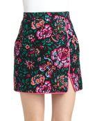 Nanette Lepore Blossom Cottonsilk Printed Fauxwrap Skirt - Lyst