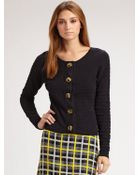 Milly Tuck Stitch Toggle Cardigan - Lyst