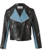 Acne Studios Rita Leather and Denim Biker Jacket - Lyst