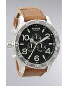 Nixon The 5130 Chrono Leather Watch in Black Saddle - Lyst