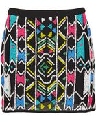 Topshop Aztec Embellished Mini Skirt - Lyst
