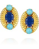 Bounkit Goldplated Turquoise and Lapis Lazuli Clip Earrings - Lyst