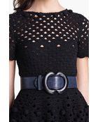 Oscar de la Renta Contrast Piping Leather Belt - Lyst