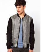 River Island Bomber Jacket with Contrast Silversnake Panel - Lyst
