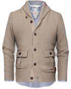 Men Shawl Collar Cotton Cardigan - Lyst