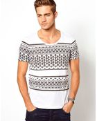 Asos Stripe T-shirt with Aztec Print - Lyst