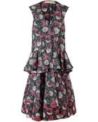 Marni Floral-Print Twill Peplum Dress - Lyst