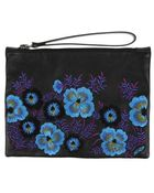 Christopher Kane Leather clutch with embroidered floral pattern. - Lyst