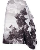Dries Van Noten Asymmetric Printed Skirt - Lyst