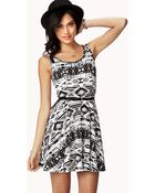 Forever 21 Tribal Print Skater Dress W Belt - Lyst