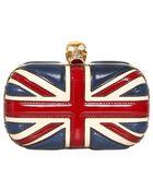 Alexander McQueen Britannia Leather Skull Box Clutch - Lyst