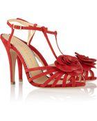 Charlotte Olympia Rosa Rose-Appliquéd Leather Sandals - Lyst