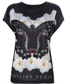 Philipp Plein Embellished Panther Butterfly T shirt - Lyst