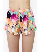 Nasty Gal Flower Frill Shorts - Lyst