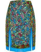 Topshop Printed Split Skirt - Lyst