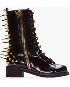 Giuseppe Zanotti Black Patent Leather Spiked Blok 40 Boots - Lyst