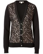 Michael Kors Cashmere/Lace Cardigan In Black/Nude - Lyst