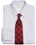 Brooks Brothers Supima Cotton Noniron Extraslim Fit Point Collar Twill Hairline Framed Stripe Luxury Dress Shirt - Lyst