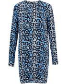 Equipment Blue Leopard Snake Print Silk Dress - Lyst