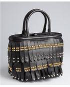 Prada Black Leather Studded Tassel Mini Top Handle Bag - Lyst