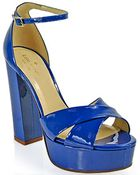 Kate Spade Isis Platform Sandal in Cobalt Patent Leather - Lyst