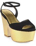 Bottega Veneta Suede Metallic Leather Wedge Sandals - Lyst